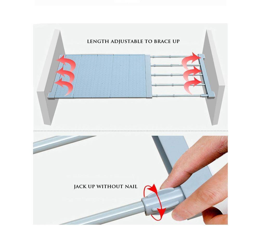 Adjustable Storage Rack Expandable Separator Shelf For Wardrobe, Cupboard, Bookcase Compartment Collecting
