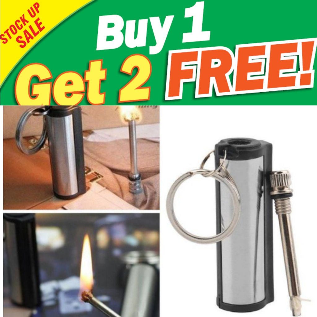 BUY 1 GET 2=3PCS - Best Permanent Striker Lighter Match Emergency Waterproof Fire Starter Silver Metal Key Chain