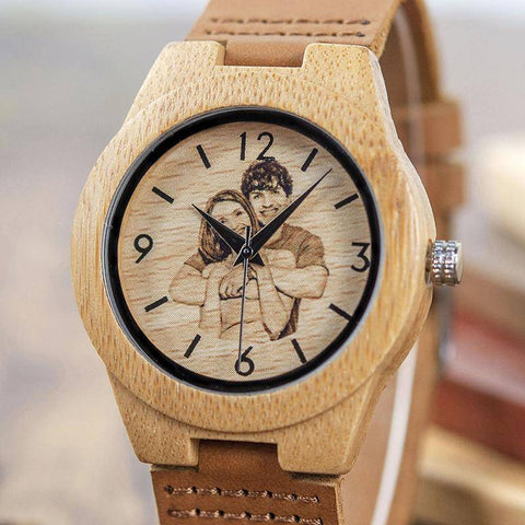 Image of [Customized Gift] Creative Valentine's Day Gift- Wood Watch Men /Women  UV Printing