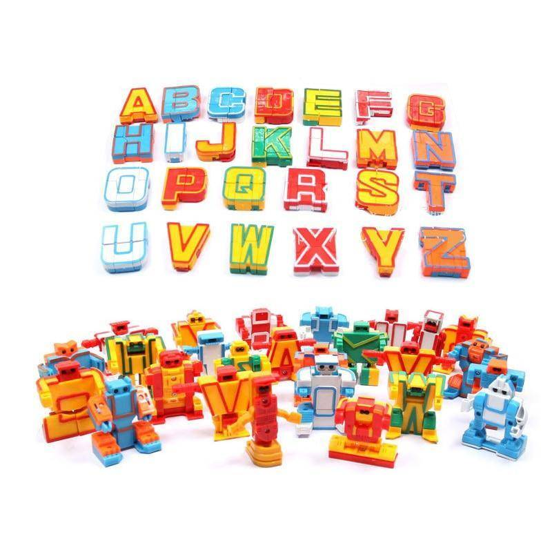 Educational Toys 26pcs English Letters Robot Deformation Alphabet Transformations Puzzle Assembled Birthday Xmas Gifts Kids