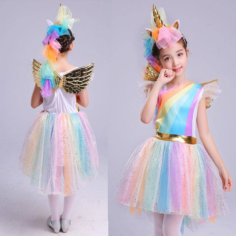 Image of Girls' Dress Rainbow Unicorn Party With Headband  Cosplay Costume Kids 2019