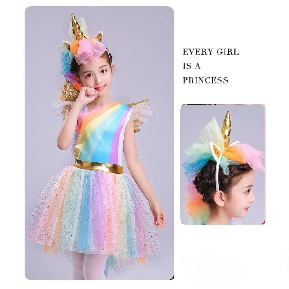 Girls' Dress Rainbow Unicorn Party With Headband  Cosplay Costume Kids 2019