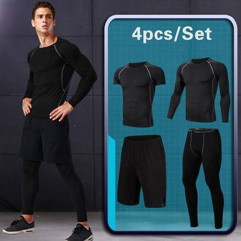 Image of GYM Tights Sports Men's Compression Sportswear Suits Training Clothes Suits Workout Jogging Sports Clothing Tracksuit Dry Fit