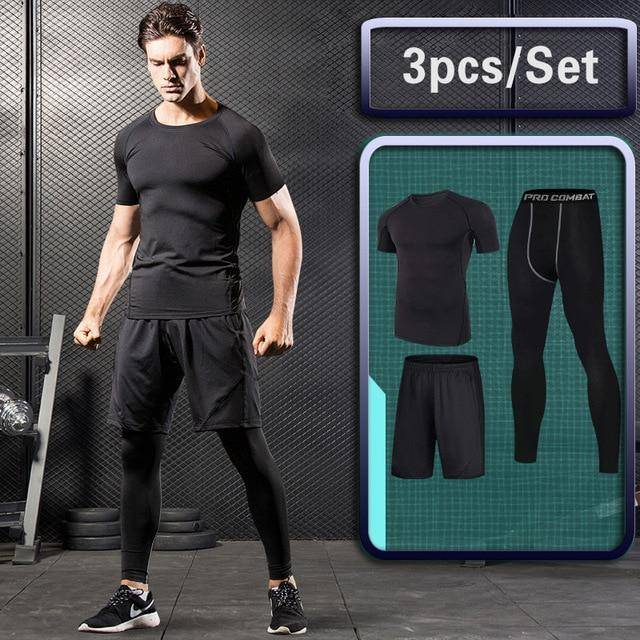 b41e0728755 GYM Tights Sports Men's Compression Sportswear Suits training Clothes Suits  workout jogging Sports clothing Tracksuit Dry Fit