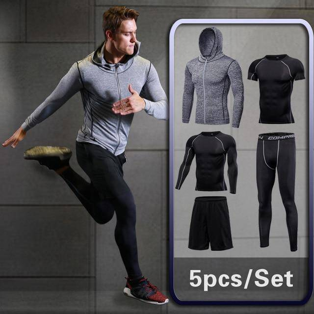 02042a0027 GYM Tights Sports Men's Compression Sportswear Suits training Clothes Suits  workout jogging Sports clothing Tracksuit Dry Fit