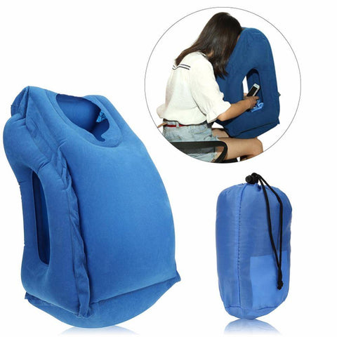Image of Inflatable Travel Office Pillow Air Soft Cushion Trip Portable Innovative Body Back Support Foldable Blow Neck Protect Pillow
