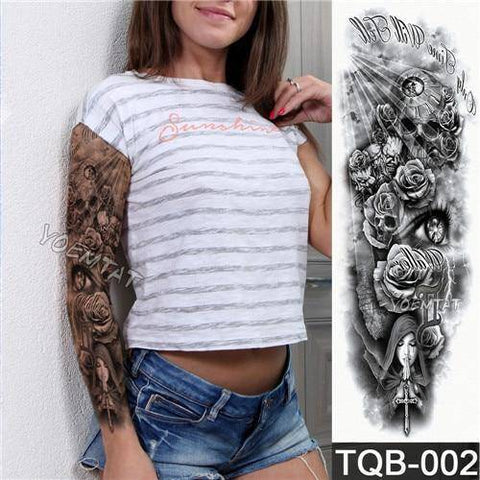 Large Arm Sleeve Tattoo Waterproof Temporary Tattoo Sticker Skull Angel Rose Lotus Men Full Flower Tatoo Body Art Tattoo Girl