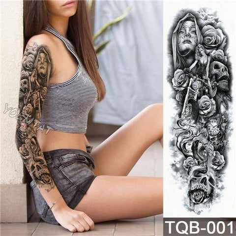 Image of Large Arm Sleeve Tattoo Waterproof Temporary Tattoo Sticker Skull Angel Rose Lotus Men Full Flower Tatoo Body Art Tattoo Girl