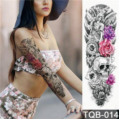 Large Arm sleeve Tattoo Waterproof temporary tattoo Sticker Skull ...