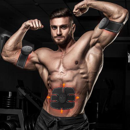 Lazy Abdominal Abdomen Arm Sticker EMS Muscle Trainer Set