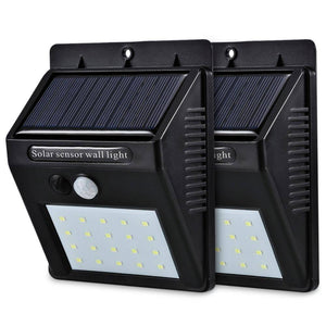LED Solar Power PIR Motion Sensor Wall Light 20 LED Outdoor Waterproof Energy Saving