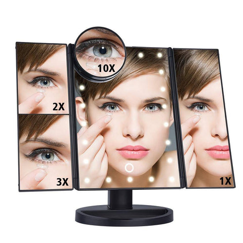 Image of LED Touch Screen 22 Light Makeup Mirror 1X/2X/3X/10X Magnifying Mirrors Vanity 3 Folding Adjustable