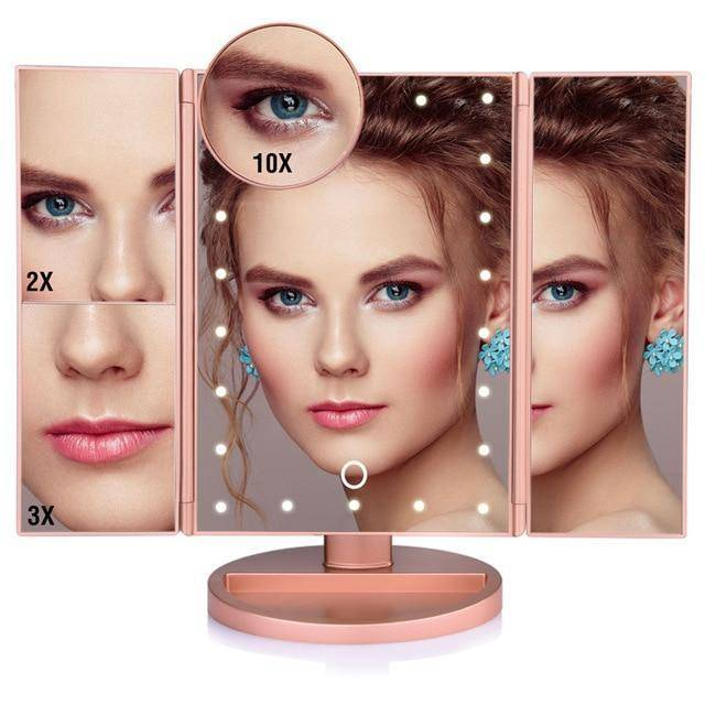 LED Touch Screen 22 Light Makeup Mirror 1X/2X/3X/10X Magnifying Mirrors Vanity 3 Folding Adjustable