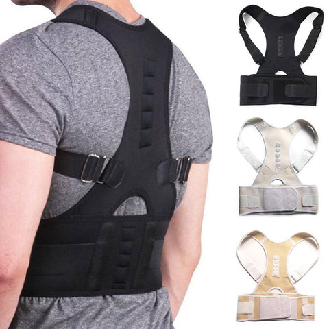 Image of Male Female Adjustable Magnetic Posture Corrector Corset Back Brace Back Belt Lumbar Support Straight Corrector