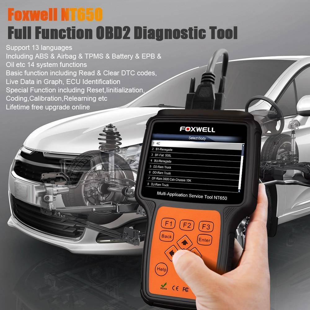 NT650 OBD2 Automotive Scanner ABS Airbag SAS EPB DPF Oil Service Reset