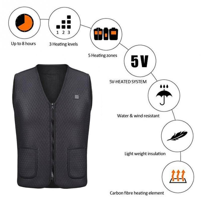 Outdoor USB Infrared Heating Vest Jacket  Unisex