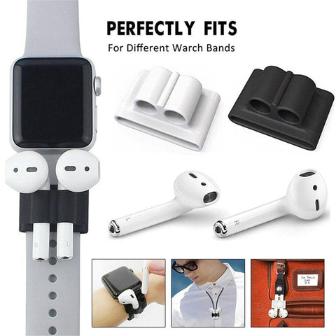 Image of Pack Of 5 Accessories Silicone Case Cover Earphones Pouch Anti Lost Strap Holder Eartips Carabiner Buckle For Apple AirPods
