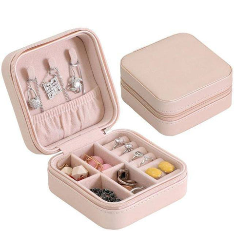 Image of Portable Travel  Jewelry Case & Makeup Organizer Cosmetic Box With Mirror