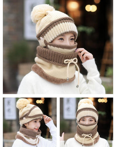 Image of Beanie Hat and scarf set with Mask - 3 Colors