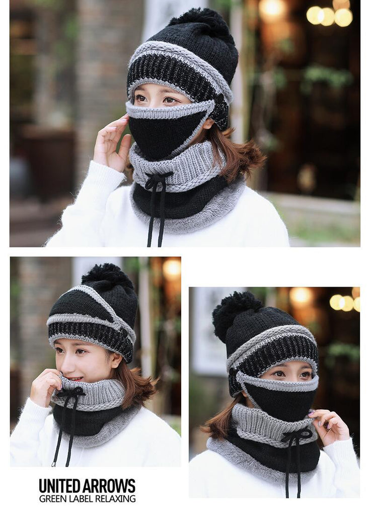 Beanie Hat Scarf with Mask - 3 Colors