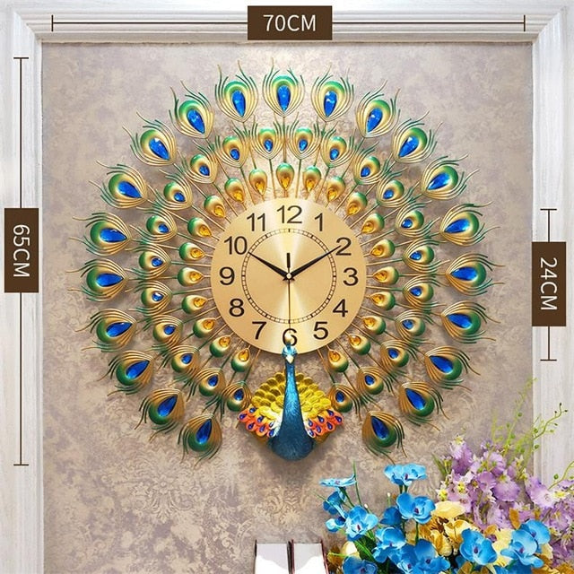 Gearbombard 3D Peacock Wall Clock