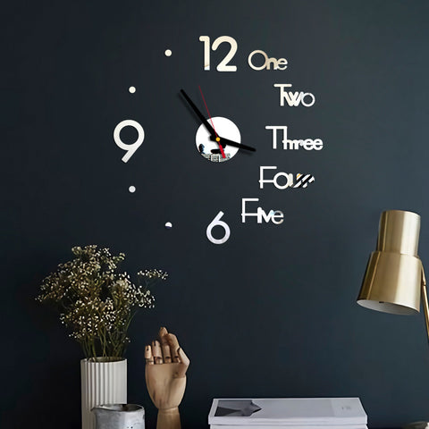 Frameless DIY Wall Clock, 3D Mirror Wall Clock Large Mute Wall Stickers For Living Room Bedroom Home Decorations