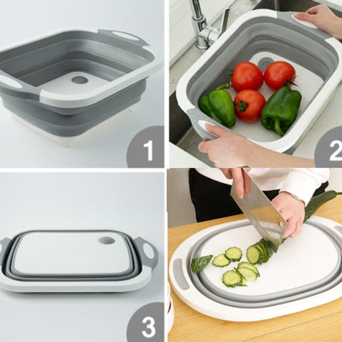 Image of Eco-Friendly 3in1 Multi-Function Foldable Cutting Board, Washing Bowl & Draining Fruit Basket