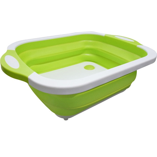 Eco-Friendly 3in1 Multi-Function Foldable Cutting Board, Washing Bowl & Draining Fruit Basket