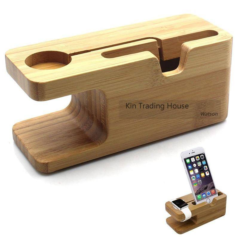 Bamboo Wood Charger Station for Apple Watch Charging Dock Station Charger Stand Holder for iPhone 5s 6 Dock Stand Cradle Holder