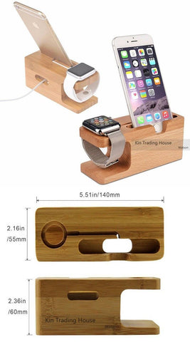 Image of Bamboo Wood Charger Station for Apple Watch Charging Dock Station Charger Stand Holder for iPhone 5s 6 Dock Stand Cradle Holder
