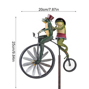 Vintage Frog Bicycle Metal Wind Spinner