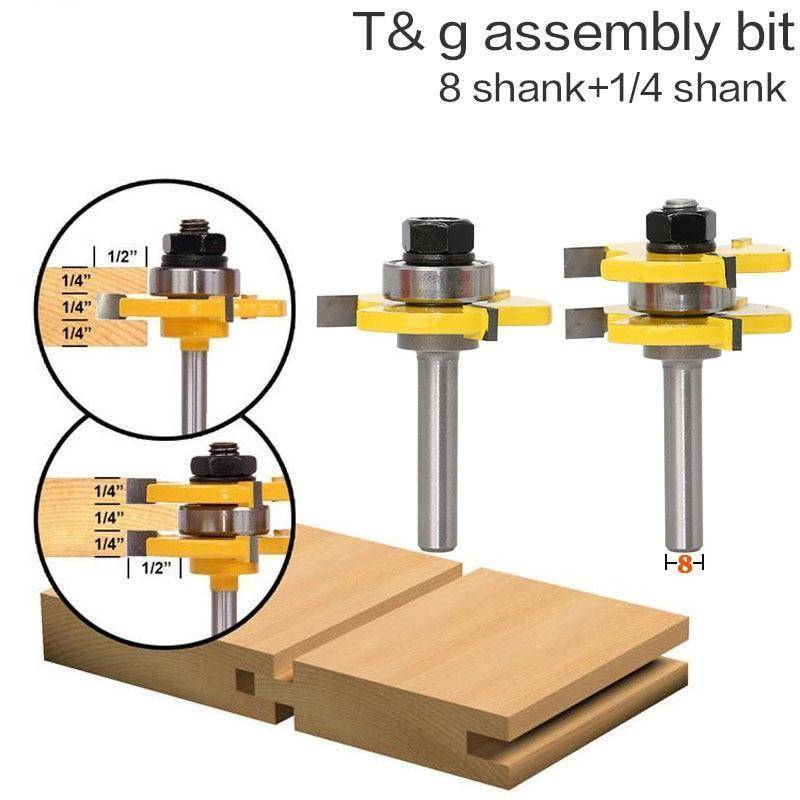 "2 pcs 8mm Shank  Router Bit Set 3/4"" Stock"