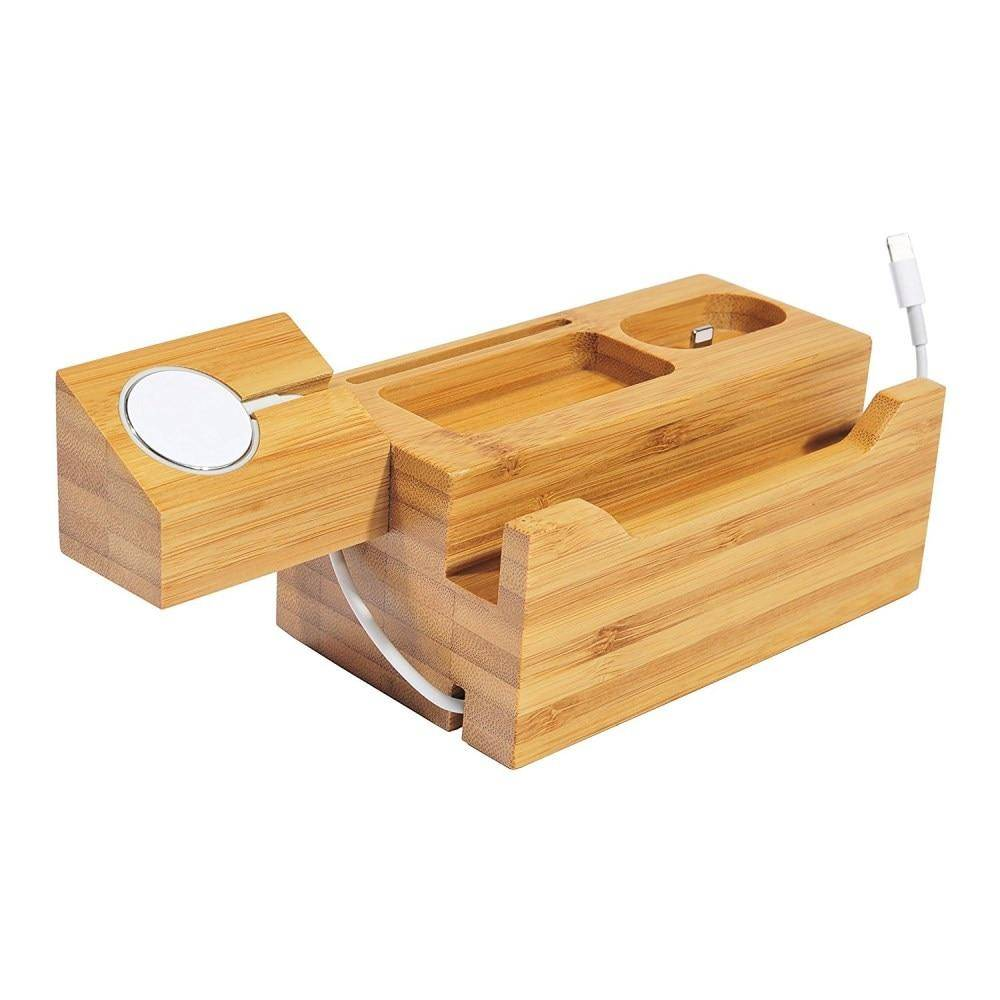 Natural Wood Charger Holder Stand for iPhone X 7 6S Charger Dock for Apple watch Charging Station for Apple Airpods Hold