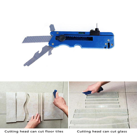 Image of 10-IN-1 Multifunction Glass Tile Cutter Metal Cutting Kit Tool with Measure Ruler