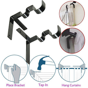 Durable 2pc Double Curtain Rod Holder