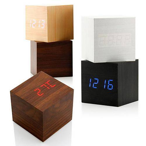 Voice Control Cube Wooden Clock USB/Battery LED Digital Desk Alarm Clock Thermometer Timer Calendar 6cmx6cmx6cm