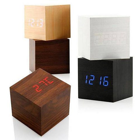 Image of Voice Control Cube Wooden Clock USB/Battery LED Digital Desk Alarm Clock Thermometer Timer Calendar 6cmx6cmx6cm