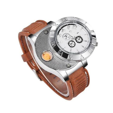 Image of Windproof USB Rechargeable Watch Lighter Flameless Cigarette Lighter