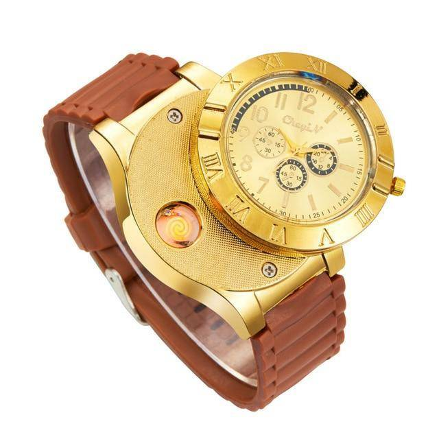 Windproof USB Rechargeable Watch Lighter Flameless Cigarette Lighter