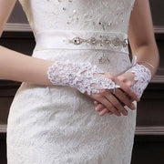 Women Fingerless Bridal Gloves Elegant Short Paragraph Rhinestone White Lace Glove Wedding Accessories