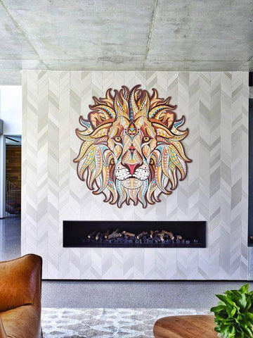 Image of Wood Lion Wood Wall Art Wooden Lion Decor African Lion Wood Animal Wood Animals Lion Art Lion Wall Art Lion Wall Decor Mandala Valentine Day