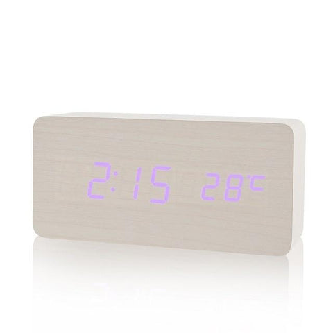 Image of Wooden LED Digital Display Alarm Clock