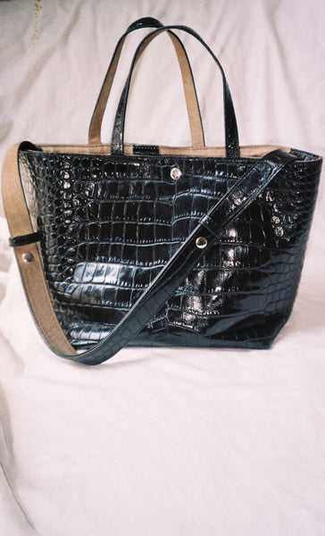 Black Crocodile Stamped Leather Tote