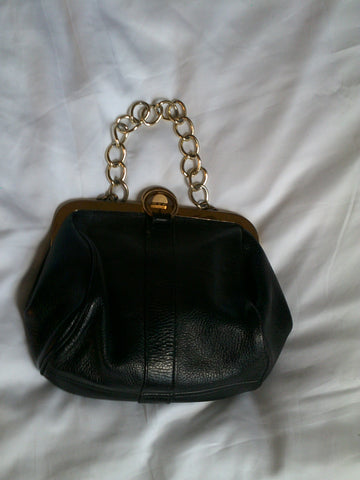 Mini Black Leather Chain Strap Purse