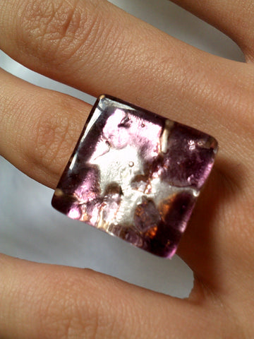 Pink and Silver Glass Ring