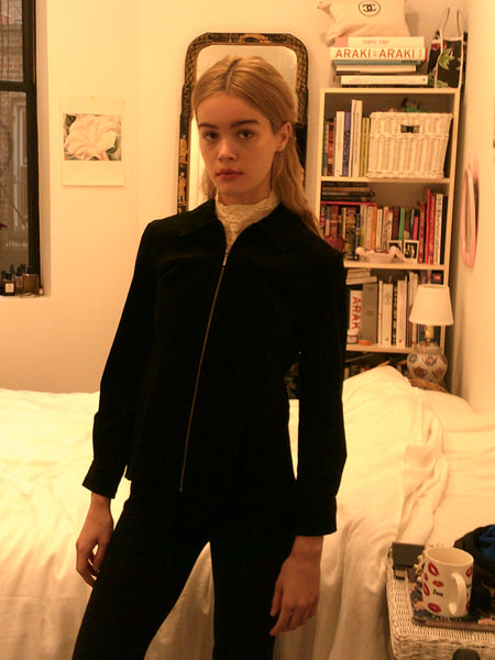 Black Suede Zip Jacket