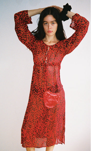 Red Leopard Sheer Dress
