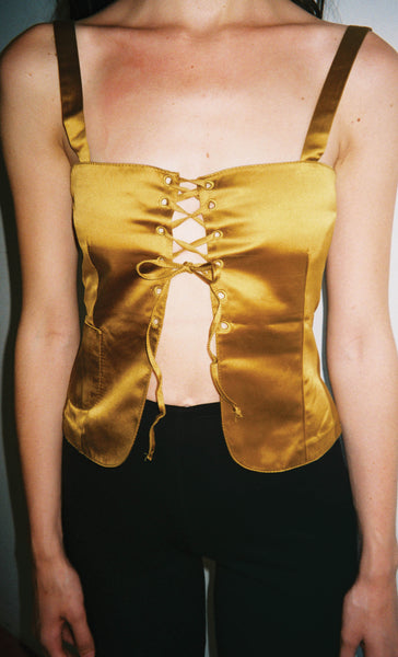 Miu Miu Lace-up Tank in Gold