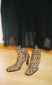 Leopard Print Pony Hair Boots