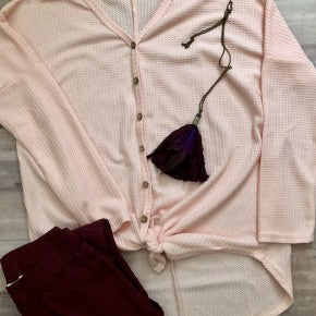 Pink Waffle Top